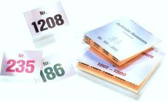 Aufklebenummern, Papierfarbe WEISS, Nummern 1001 - 6000