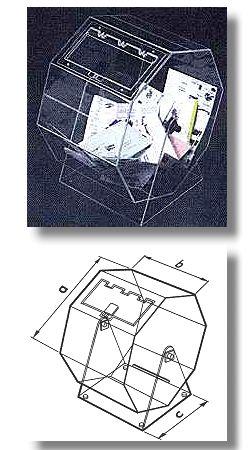 Lostrommel aus Polykarbonat, MITTEL, mit Eingriffklappe und Schloß