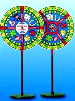 """Glücksrad """"CASINO"""", Standmodell mit Glückssymbolen , ca 1800 mm hoch, Spielscheibe 900 mm"""