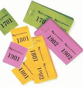 Doppelnummern -10 Blöcke mit je 100 Abrissen, nummeriert von 1001-2000, 2001-3000 usw. bis 5001-6000