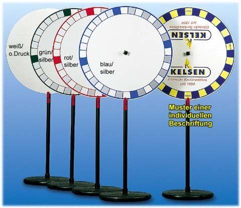 Glücksrad - Tischmodell, Spielscheibe mit Kranzeinteilung BLAU / SILBER,