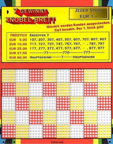 Knobel-Stechspiel 1000 mit Spielplan Nr. 01
