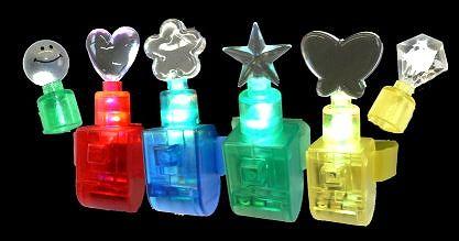 LED-Mini-Finger-Light mit 6 verschiedenen Applikationen, wechselt die Farbe in rot-grün-blau