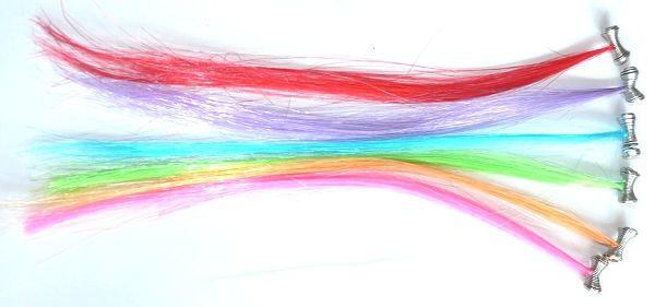 Bunte Haarsträhnen, ca. 16 cm lang