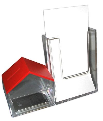 Spendenhäuschen (Haus-Spardose) mit rotem Dach, Version 2 mit Prospektfach Din A 4