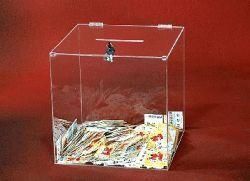 Losbox aus Acryl , in UNTERSCHIEDLICHEN AUSFÜHRUNGEN und GRÖSSEN, Ausführung mit Schloß
