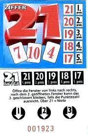 """Knibbelkarte ( Fensteraufreißkarte) """"Ziffer 21 """""""