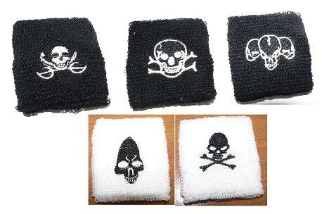 Piraten-Schweissband, schwarz und weiss bestickt