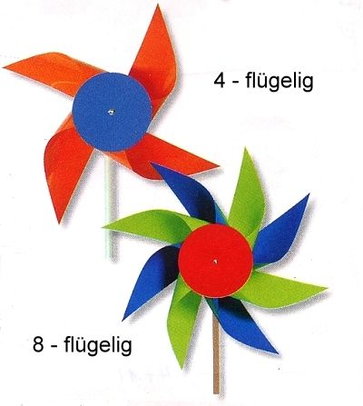Windmühlen aus Kunststoff neutral, bunt gemischt ohne weiß,