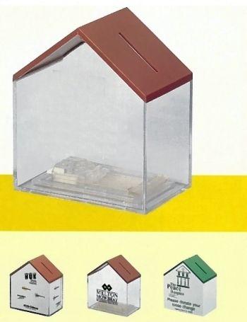 Spendenhäuschen (Haus-Spardose) mit rotem Dach, Version 1