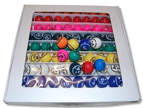 Bingobälle für Bingogeräte mit Gebläse mit 2 Zahlen, 9 Farben,