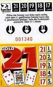 """Knibbelkarte ( Fensteraufreißkarte) """" Gold 21 """", ( Spiel 17 + 4 ), mit Joker"""